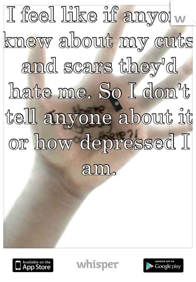 I feel like if anyone knew about my cuts and scars they'd hate me. So I don't tell anyone about it or how depressed I am.