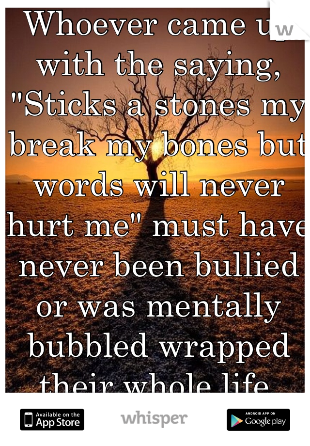 """Whoever came up with the saying, """"Sticks a stones my break my bones but words will never hurt me"""" must have never been bullied or was mentally bubbled wrapped their whole life."""