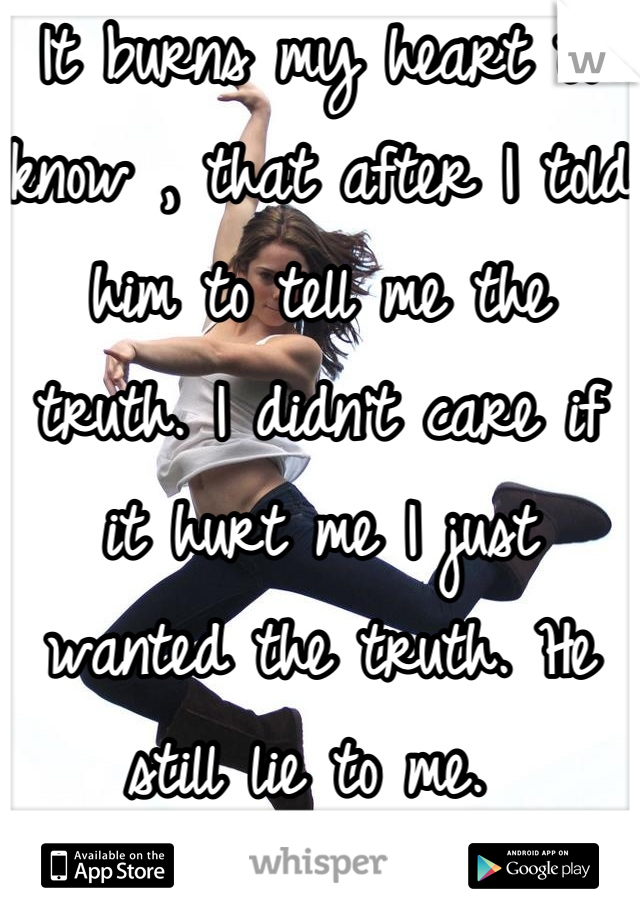 It burns my heart to know , that after I told him to tell me the truth. I didn't care if it hurt me I just wanted the truth. He still lie to me.