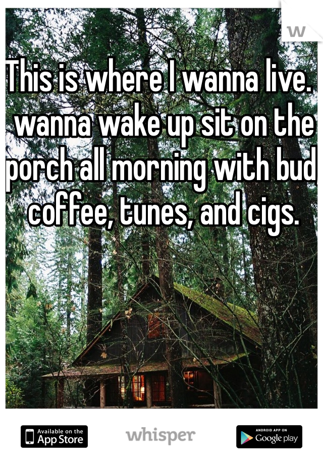 This is where I wanna live. I wanna wake up sit on the porch all morning with bud, coffee, tunes, and cigs.