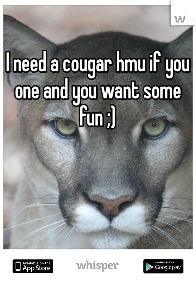 I need a cougar hmu if you one and you want some fun ;)