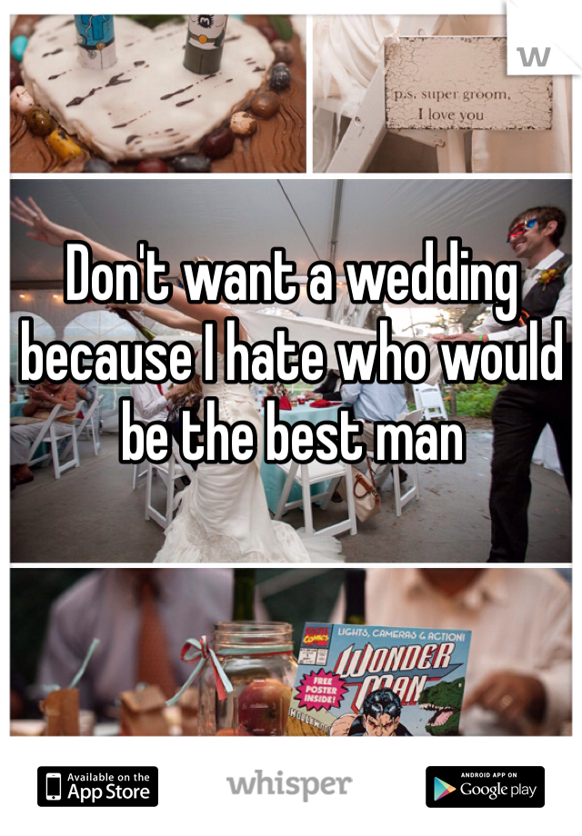 Don't want a wedding because I hate who would be the best man
