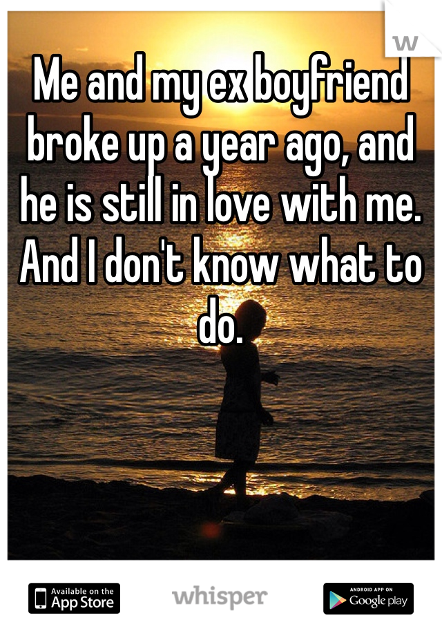 Me and my ex boyfriend broke up a year ago, and he is still in love with me. And I don't know what to do.