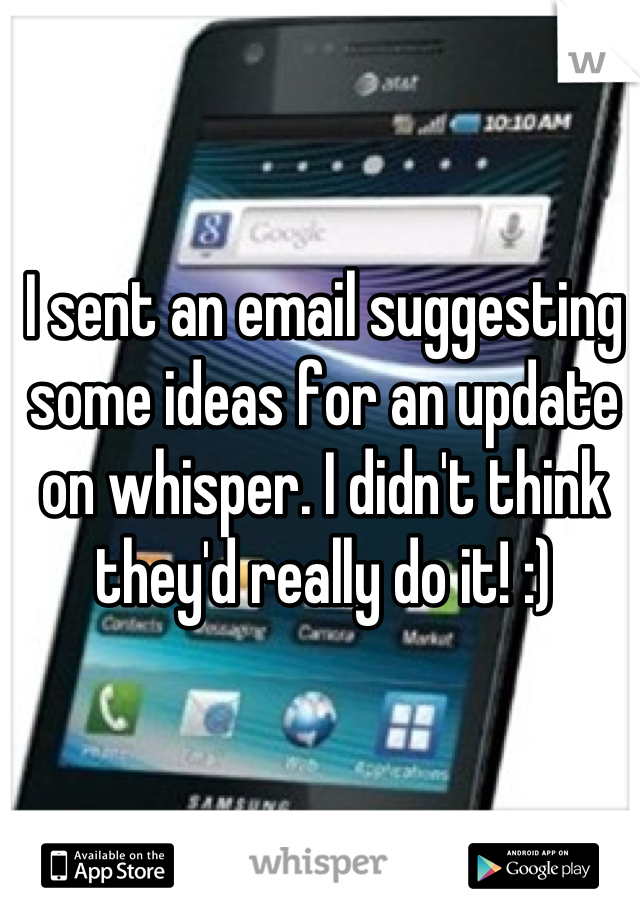 I sent an email suggesting some ideas for an update on whisper. I didn't think they'd really do it! :)