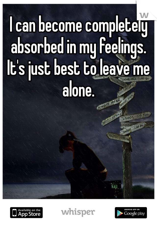 I can become completely absorbed in my feelings. It's just best to leave me alone.