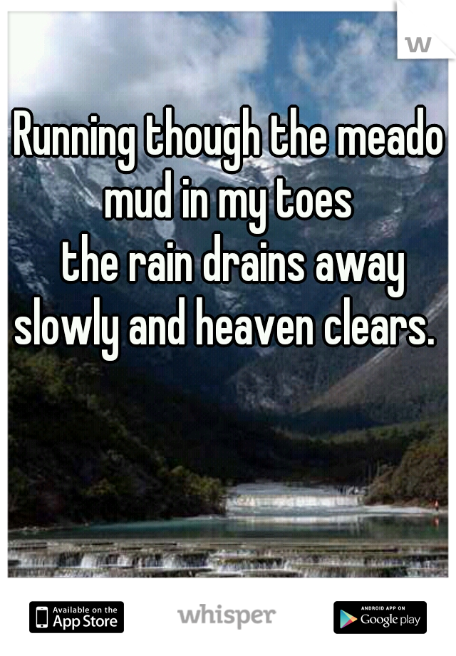 Running though the meadow mud in my toes  the rain drains away slowly and heaven clears.