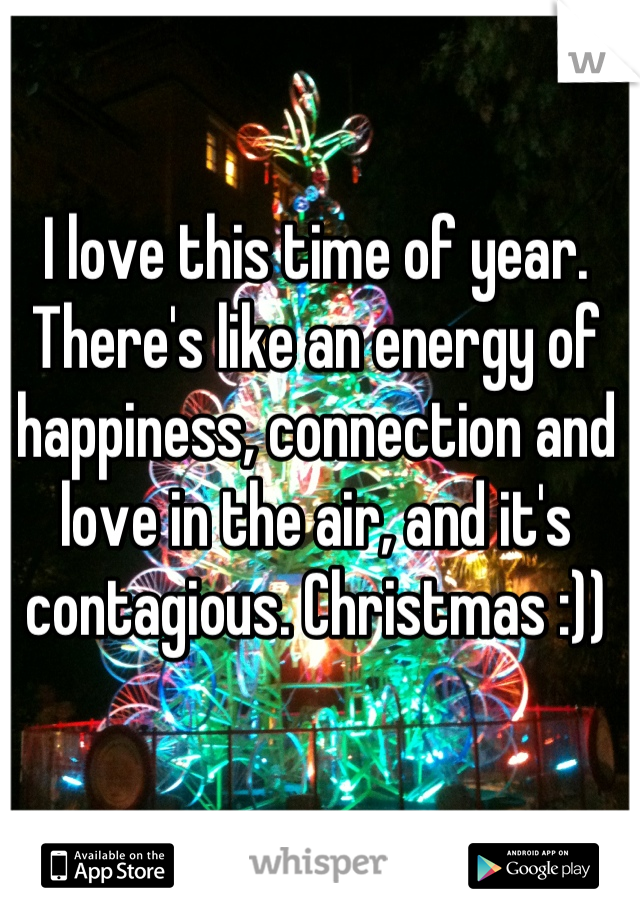 I love this time of year. There's like an energy of happiness, connection and love in the air, and it's contagious. Christmas :))
