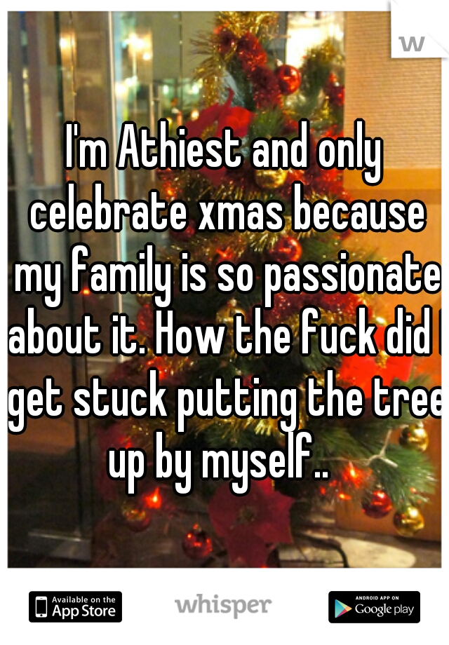 I'm Athiest and only celebrate xmas because my family is so passionate about it. How the fuck did I get stuck putting the tree up by myself..