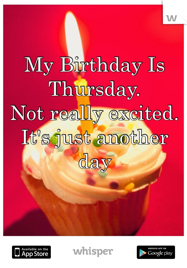 My Birthday Is Thursday. Not really excited.  It's just another day