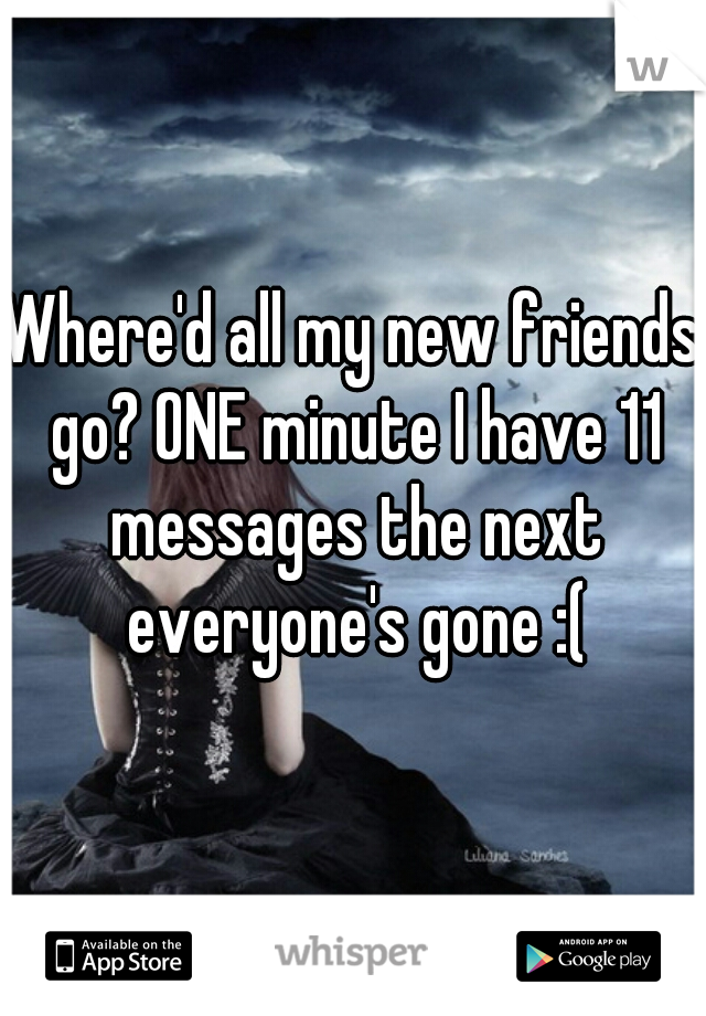 Where'd all my new friends go? ONE minute I have 11 messages the next everyone's gone :(