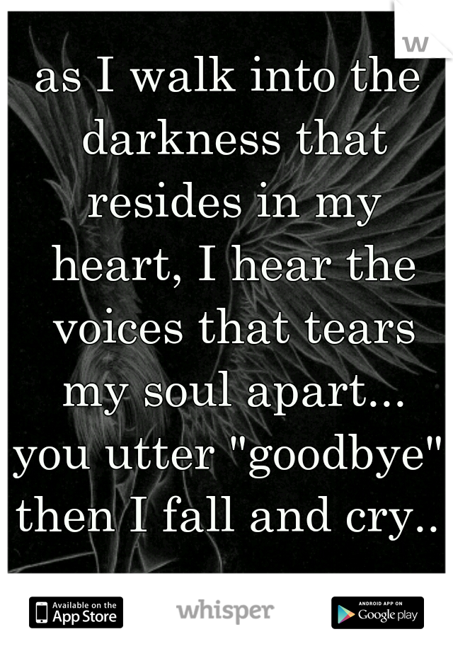 """as I walk into the darkness that resides in my heart, I hear the voices that tears my soul apart... you utter """"goodbye"""" then I fall and cry.."""