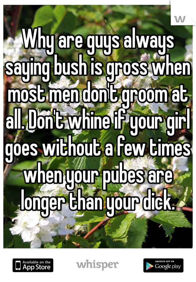 Why are guys always saying bush is gross when most men don't groom at all. Don't whine if your girl goes without a few times when your pubes are longer than your dick.