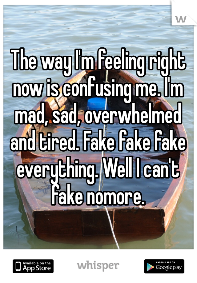 The way I'm feeling right now is confusing me. I'm mad, sad, overwhelmed and tired. Fake fake fake everything. Well I can't fake nomore.