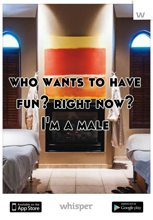who wants to have fun? right now?  I'm a male