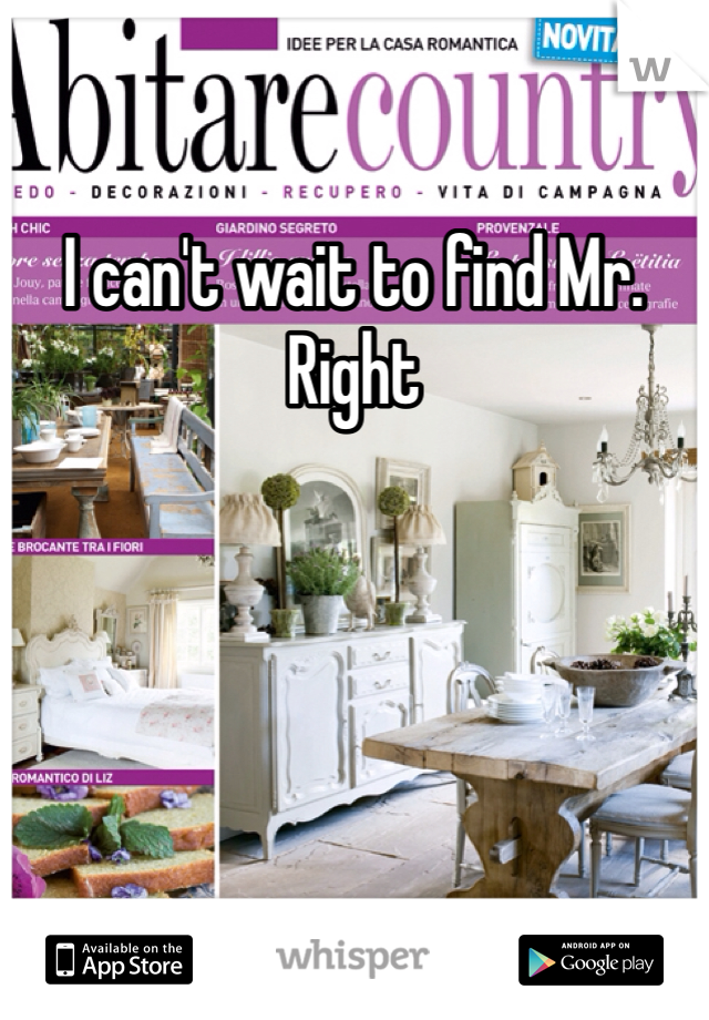 I can't wait to find Mr. Right