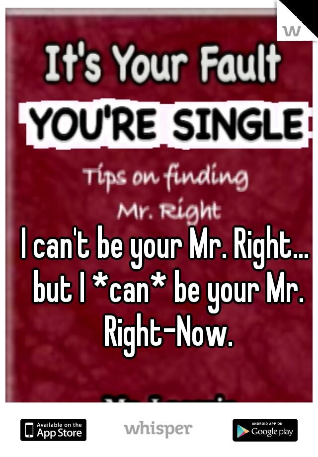 I can't be your Mr. Right... but I *can* be your Mr. Right-Now.