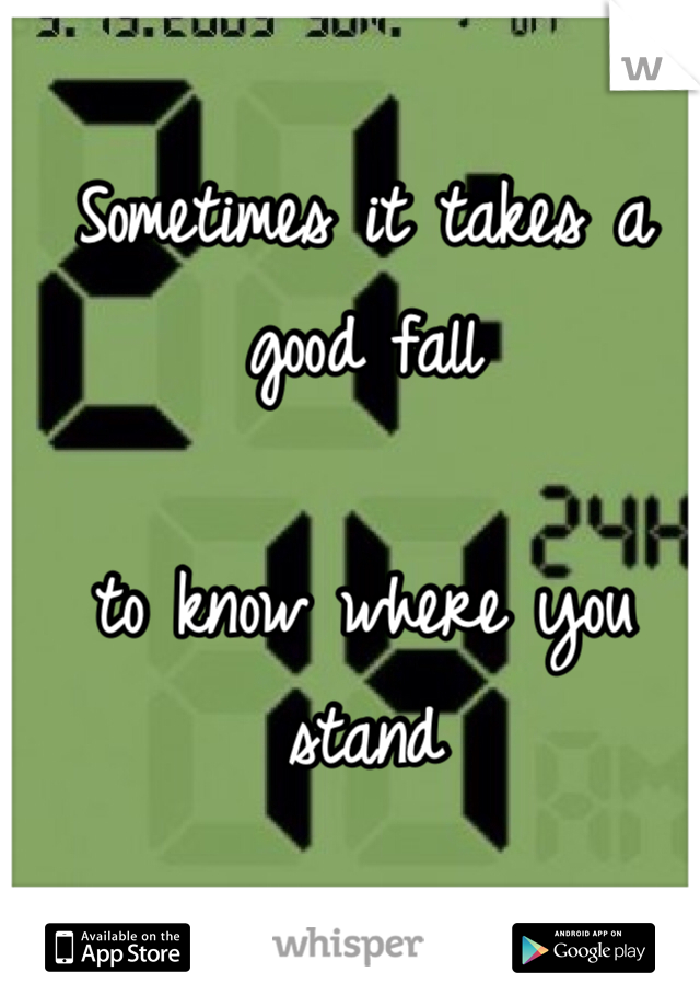 Sometimes it takes a good fall   to know where you stand