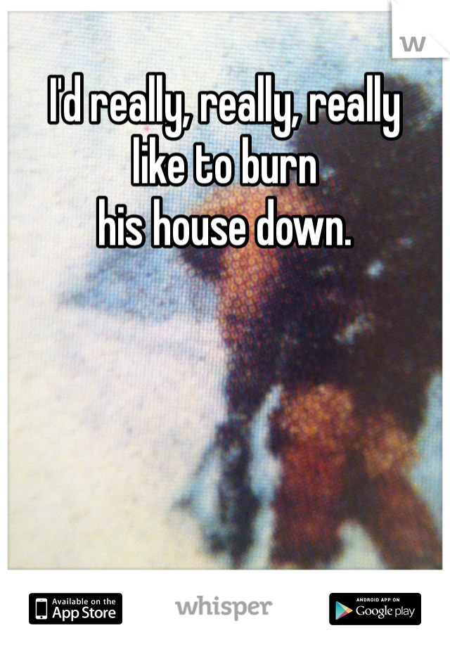 I'd really, really, really like to burn  his house down.