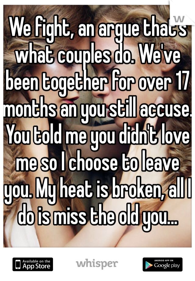 We fight, an argue that's what couples do. We've been together for over 17 months an you still accuse. You told me you didn't love me so I choose to leave you. My heat is broken, all I do is miss the old you...