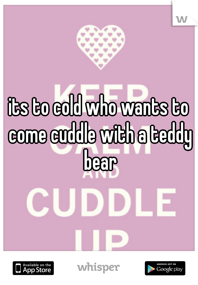 its to cold who wants to come cuddle with a teddy bear