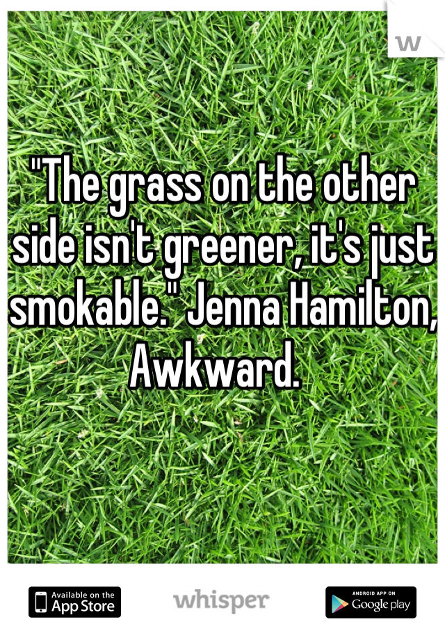 """The grass on the other side isn't greener, it's just smokable."" Jenna Hamilton, Awkward."