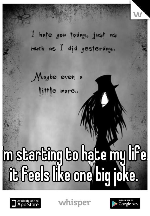 I'm starting to hate my life. it feels like one big joke.