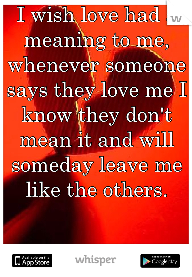 I wish love had a meaning to me, whenever someone says they love me I know they don't mean it and will someday leave me like the others.