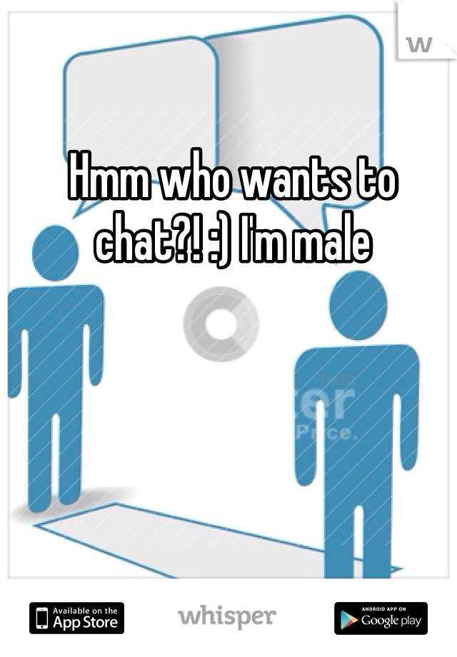 Hmm who wants to chat?! :) I'm male