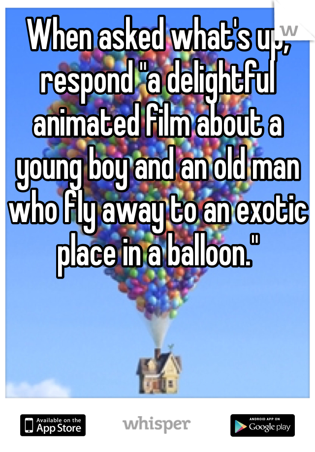 "When asked what's up, respond ""a delightful animated film about a young boy and an old man who fly away to an exotic place in a balloon."""