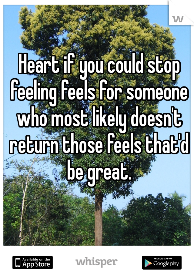 Heart if you could stop feeling feels for someone who most likely doesn't return those feels that'd be great.