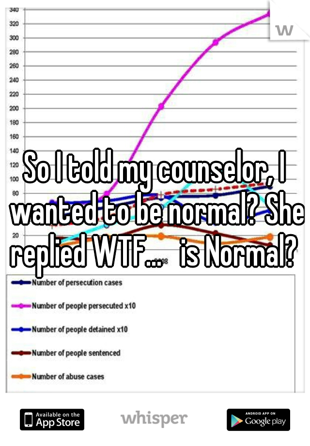 So I told my counselor, I wanted to be normal? She replied WTF...   is Normal?