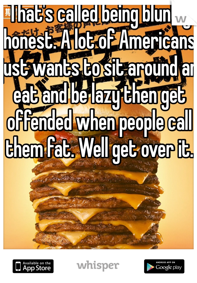 That's called being bluntly honest. A lot of Americans just wants to sit around an eat and be lazy then get offended when people call them fat. Well get over it.