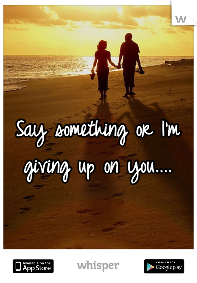 Say something or I'm giving up on you....