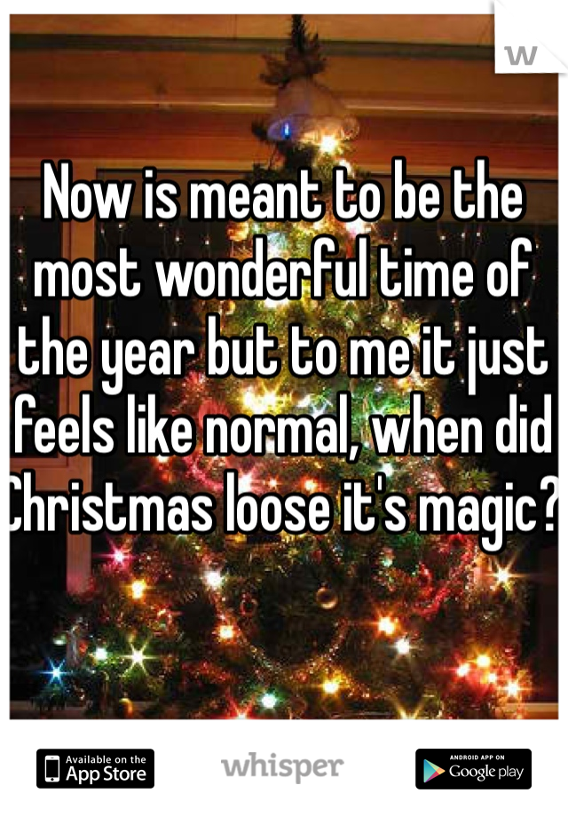 Now is meant to be the most wonderful time of the year but to me it just feels like normal, when did Christmas loose it's magic?