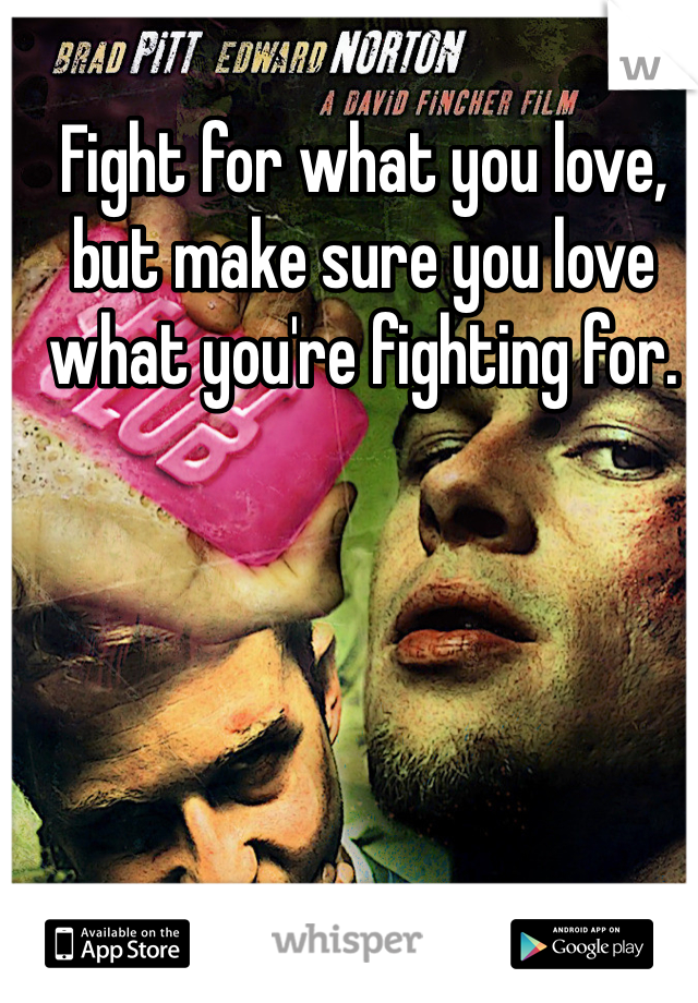 Fight for what you love, but make sure you love what you're fighting for.