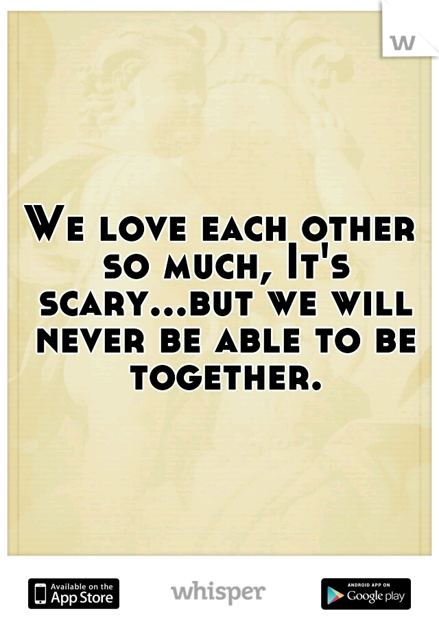 We love each other so much, It's scary...but we will never be able to be together.