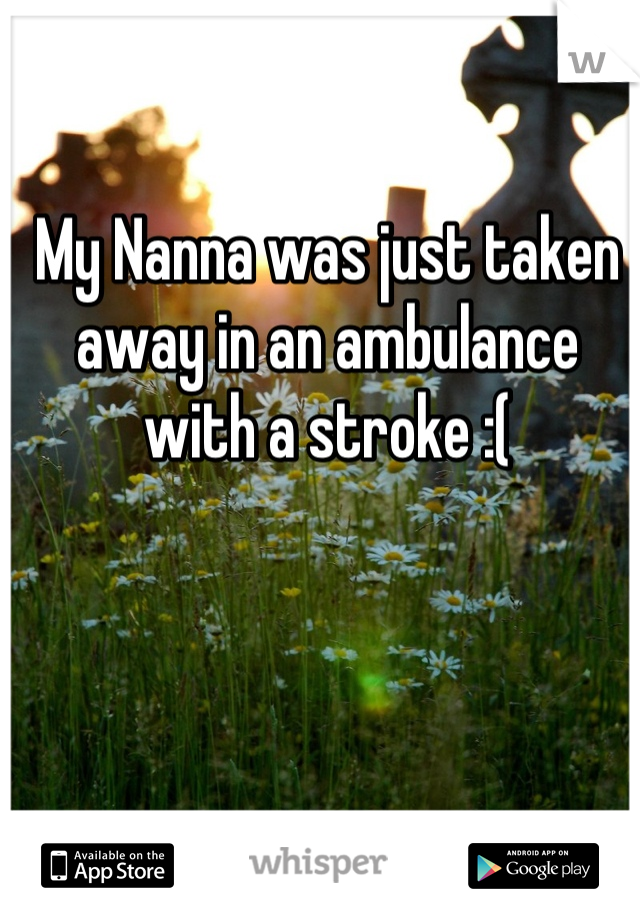 My Nanna was just taken away in an ambulance with a stroke :(