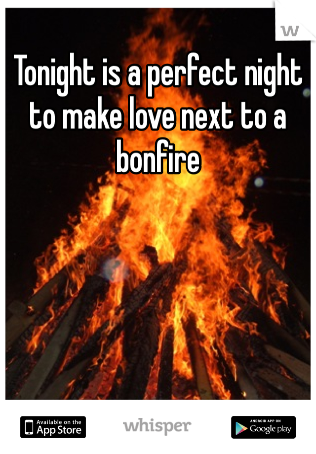 Tonight is a perfect night to make love next to a bonfire