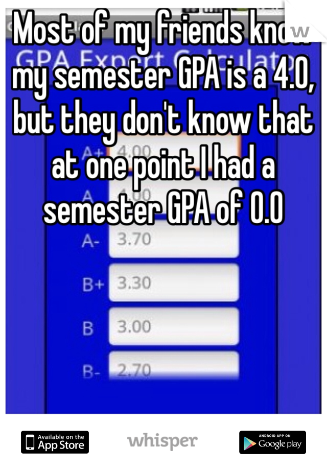 Most of my friends know my semester GPA is a 4.0, but they don't know that at one point I had a semester GPA of 0.0