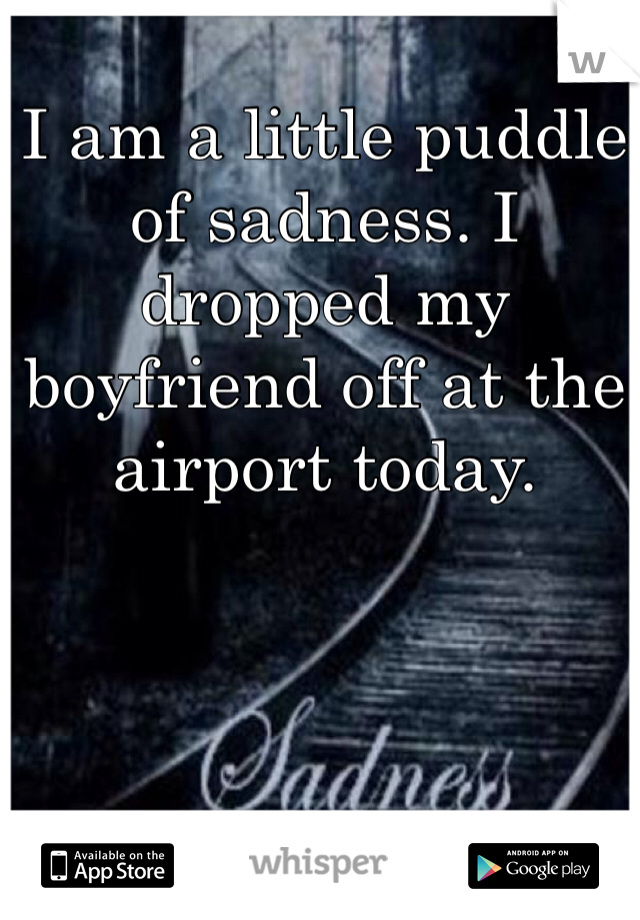 I am a little puddle of sadness. I dropped my boyfriend off at the airport today.