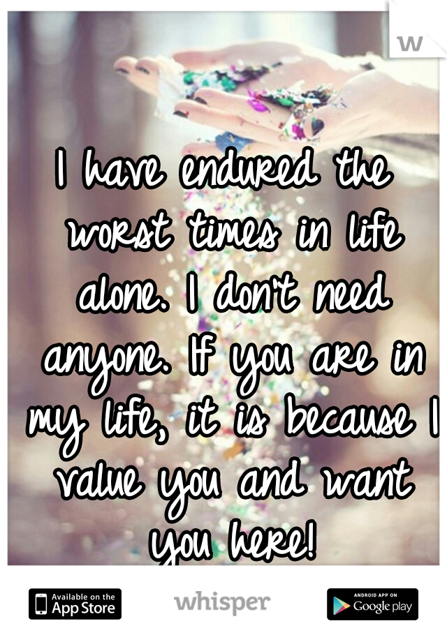 I have endured the worst times in life alone. I don't need anyone. If you are in my life, it is because I value you and want you here!