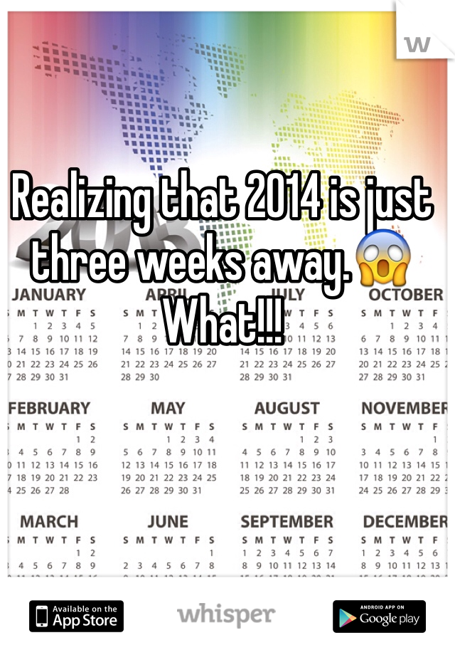 Realizing that 2014 is just three weeks away.😱 What!!!