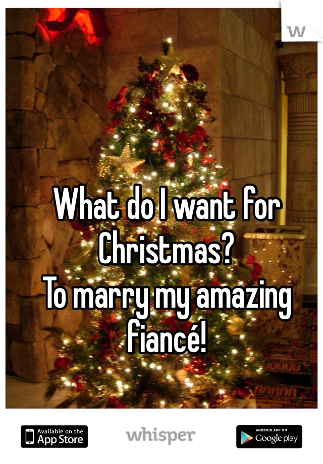 What do I want for Christmas?  To marry my amazing fiancé!