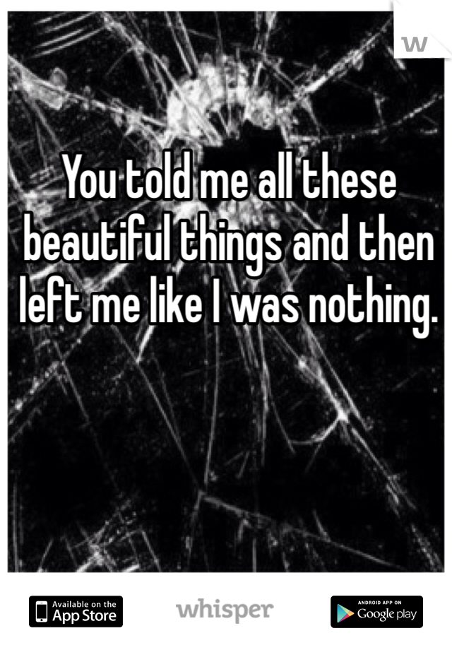 You told me all these beautiful things and then left me like I was nothing.
