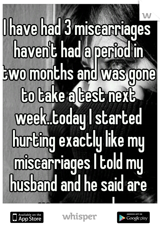 I have had 3 miscarriages haven't had a period in two months and was gone to take a test next week..today I started hurting exactly like my miscarriages I told my husband and he said are you gone cook