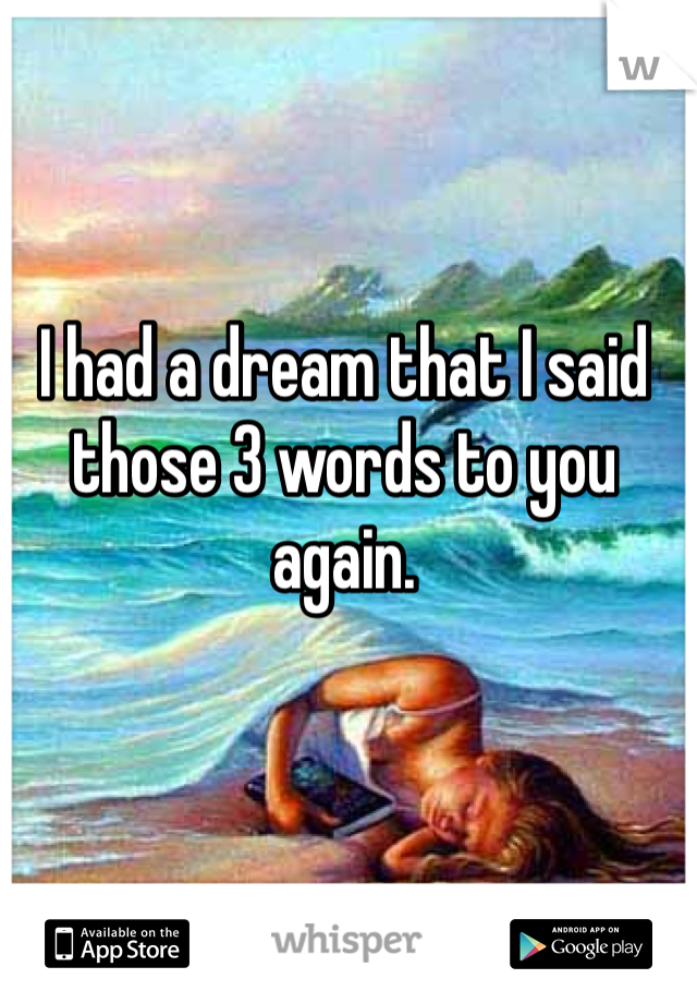 I had a dream that I said those 3 words to you again.