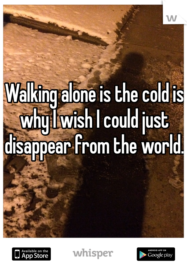 Walking alone is the cold is why I wish I could just disappear from the world.
