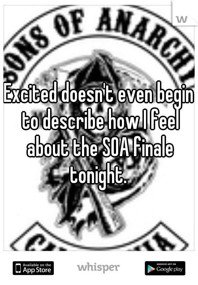Excited doesn't even begin to describe how I feel about the SOA finale tonight.