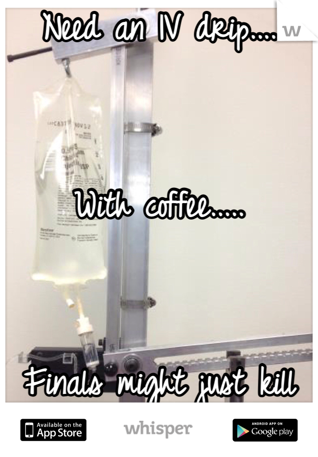 Need an IV drip....   With coffee.....   Finals might just kill me.