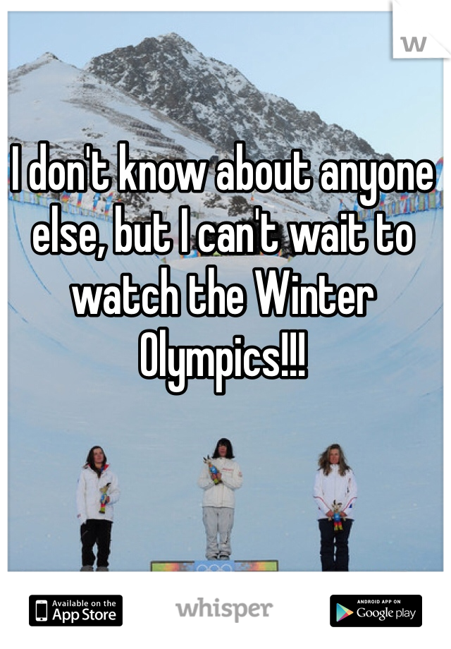 I don't know about anyone else, but I can't wait to watch the Winter Olympics!!!